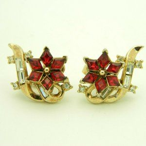 Crown Trifari Red Clear Rhinestone Twinkle Patent